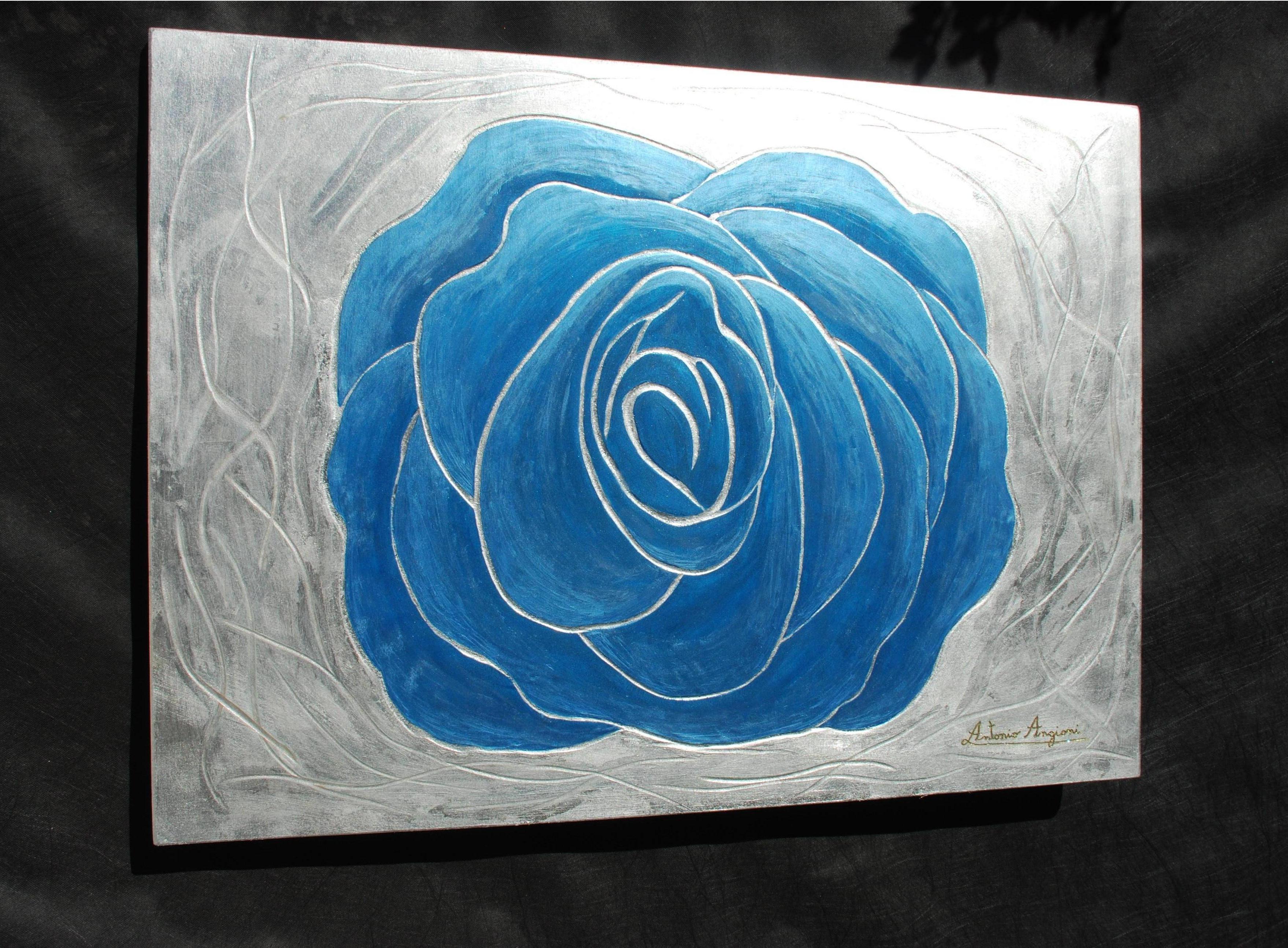 Rosa Blu Acrilico Su Sfondo Foglia Argento 80x120 Cm Antonio Angioni